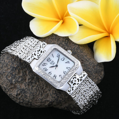 Royal Bali Collection EON 1962 Swiss Movement Sterling Silver MOP Tulang Naga Bracelet Watch (Size 8), Metal wt 99.46 Gms.