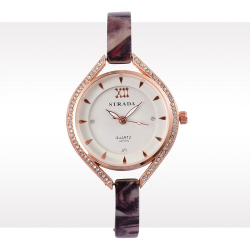 STRADA - Black and Multi MOSAIC Japanese Movement Rose Gold Tone Time Piece.