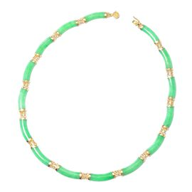 90 Ct Green Jade Beaded Necklace in Gold Plated Silver 5 Grams 18 Inch