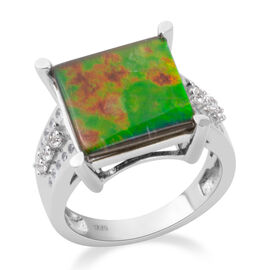 AA Canadian Ammolite (Very Rare Size Sqr 12mm), Natural White Cambodian Zircon Ring in Rhodium Overlay Sterling Silver