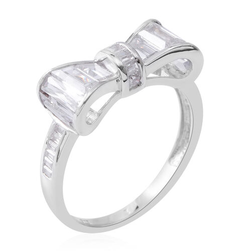 ELANZA Simulated White Diamond (Bgt and Sqr) Bow Ring in Rhodium Plated Sterling Silver