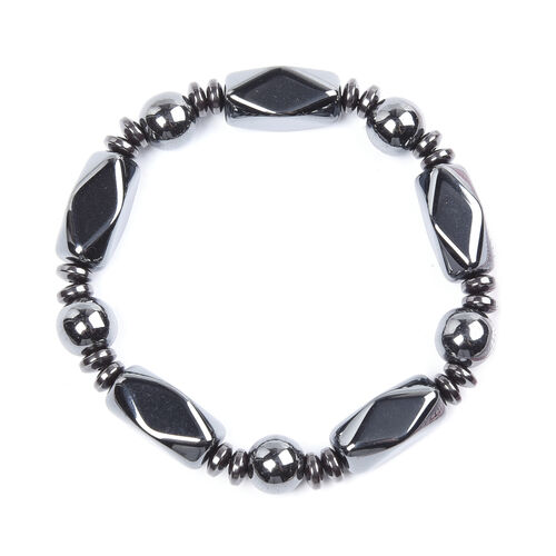 2 Piece Set - Hematite Stretchable Bracelet (Size 7) and Necklace (Size 20 with Magnetic Lock) 922.50 Ct.