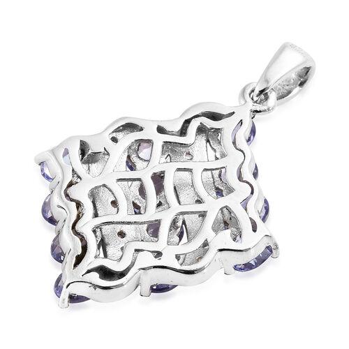 Tanzanite (Ovl), Natural Cambodian Zircon Pendant in Platinum Overlay Sterling Silver 2.500 Ct.