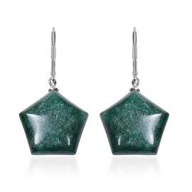 Green Phosphosiderite Lever Back Earrings in Rhodium Overlay Sterling Silver 36.00 Ct.