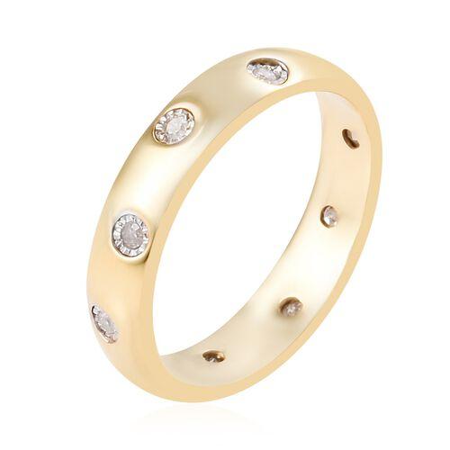 Designer Inspired Flush Set Diamond (Rnd) Band Ring in 14K Gold Overlay Sterling Silver