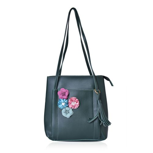 Handcrafted 3D Flowers Embellished Dark Green Colour Tote Bag with Tassel Charm (Size 26.5X25X11.5 Cm)