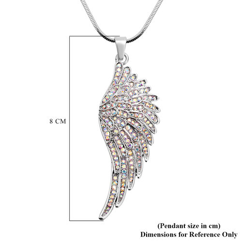 Simulated Mystic White Crystal Angel Wing Pendant with Chain (Size 28 with 2.5 inch Extender) in Silver Tone