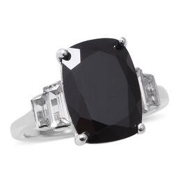 Boi Ploi Black Spinel (Cush 14x10 mm), White Topaz Ring in Rhodium Overlay Sterling Silver 9.320 Ct.