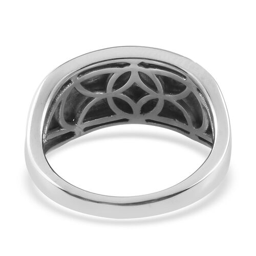 Diamond Cluster Ring in Platinum Overlay Sterling Silver