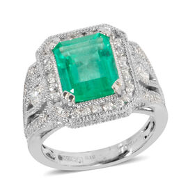 Signature Collection -  950 Platinum AAAA Boyaca Colombian Emerald, Diamond (SI & I1-G-H) Ring 4.010 Ct, Platinum wt 10.00 Gms.