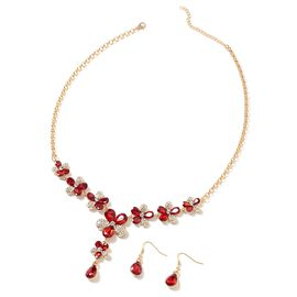 Simulated Ruby (Pear), White Austrian Crystal BIB Necklace (Size 20.5 and 2.5 inch Extender) and Drop Hook Earrings in Yellow Gold Tone