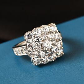 J Francis Platinum Overlay Sterling Silver Cluster Ring Made with SWAROVSKI ZIRCONIA 4.82 Ct.