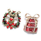 Set of 2 - Multi Colour Austrian Crystal Simulated Mystic White Crystal Enamelled Brooch in Antique