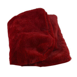 Solid Wine Red Colour Faux Fur Hooded Cross-Over Scraf (12x100cm)
