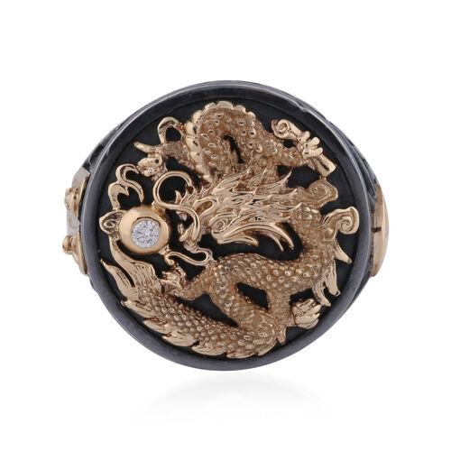 Galatea - Diamond Capitan Dragon Ring in 14K Yellow Gold and Sterling Silver