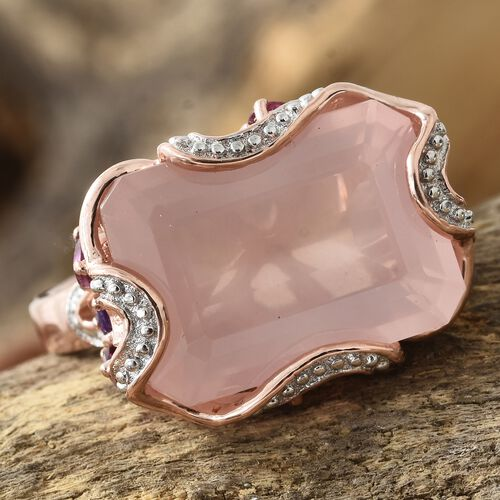 GP Rose Quartz (Oct), Rhodolite Garnet, Amethyst and Kanchanaburi Blue Sapphire Ring in Rose Gold Overlay Sterling Silver 16.500 Ct.