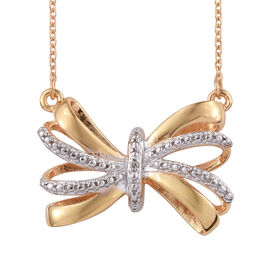 Designer Inspired- Diamond (Rnd) Bow Necklace (Size 18) in 14K Gold Overlay Sterling Silver