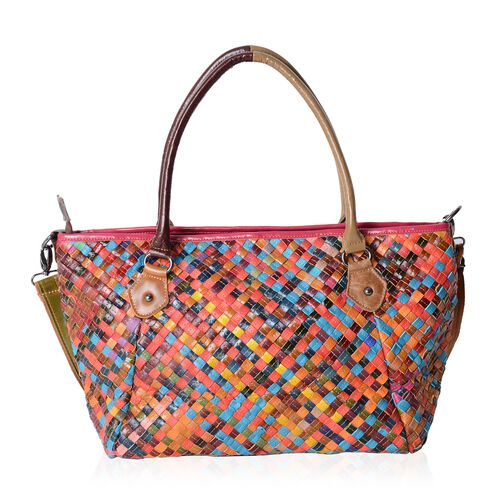 (Option-2) Morocco Collection - 100% Genuine Leather Multi Colour Blocking Tote Bag with Removable Shoulder Strap (Size 32.5x24x13.5 Cm)