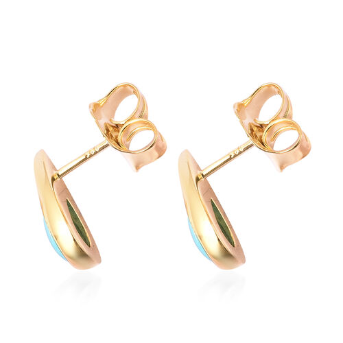 LucyQ Arizona Sleeping Beauty Turquoise Drop Stud Earrings (with Push Back) in Yellow Gold Overlay Sterling Silver 2.06 Ct.