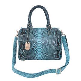 LA MAREY 100% Genuine Python Leather Tote Bag with Adjustable Shoulder Strap (Size 29x24x15cm) - Blu