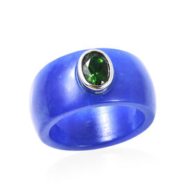 AAA Russian Diopside (Ovl) and Blue Jade Ring in Rhodium Overlay Sterling Silver 32.50 Ct.