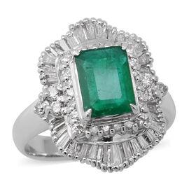 900 White Platinum  Diamond  Emerald Ring 1.88 ct,  Platinum Wt. 7.97 Gms  1.880  Ct.