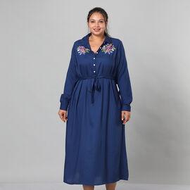 JOVIE Viscose Floral Embroidered Long Dress with Belt in Blue (Length: 125cm, Bust: 116cm)
