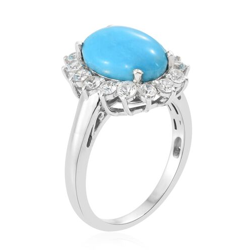 Arizona Sleeping Beauty Turquoise (Ovl 4.25 Ct), Natural Cambodian Zircon Ring in Platinum Overlay Sterling Silver 5.750 Ct.