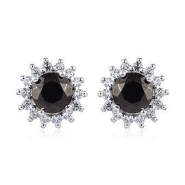 Elite Shungite (Rnd), Natural Cambodian Zircon Earrings (with Push Back) in Platinum Overlay Sterlin