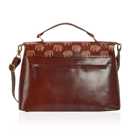 100% Genuine Leather Dark Choclate Colour Hand Printed Enchanting Elephant Pattern Satchel Bag With RFID Blocker (Size 35x25 Cm)
