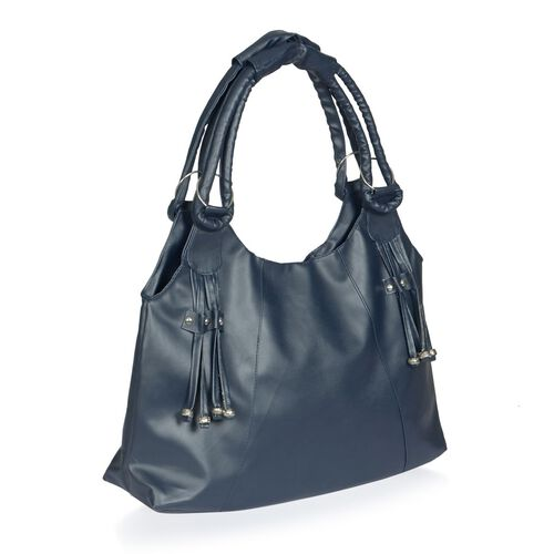 Faux Leather Dark Blue Colour Ladies Hand Bag with External Zipper Pocket