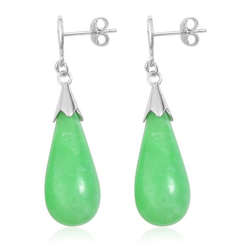 One Time Deal-Green Jade Chinese Character FU (Happiness) Drop Earrings (with Push Back) in Rhodium Plated Sterling Silver 36.000 Ct.