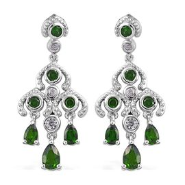 GP Russian Diopside (Rnd and Pear), Natural Cambodian Zircon, Blue Sapphire Chandelier Earrings (wit