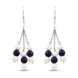 Freshwater Pearl and Lapis Lazuli Dangle Hook Earrings in Sterling Silver