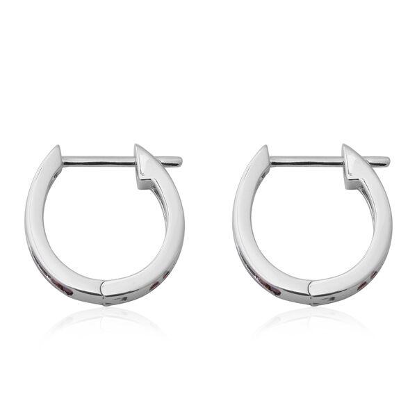 ELANZA Simulated Rainbow Sapphire Hoop Earrings in Rhodium Overlay Sterling Silver 2.00 Ct.