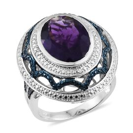 8 Carat Amethyst and Diamond Halo Ring in Platinum Plated Silver 9.83 Grams