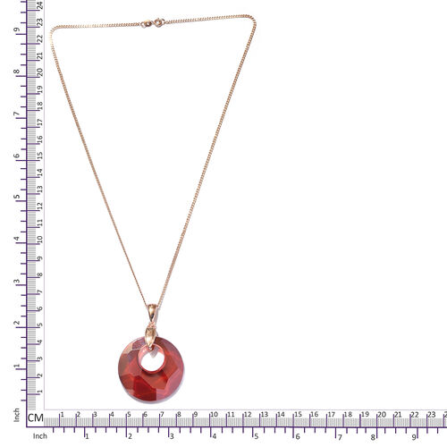 J Francis -Crystal From Swarovski Red Magma Crystal Pendant With Chain (Size 20) in Rose Gold Overlay Sterling Silver, Silver wt 9.00 Gms