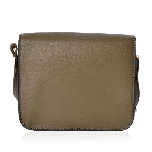 Dark Green Colour Crossbody Bag with Swing Lock Closure and Adjustable Shoulder Strap (Size 19.5X17X6.5 Cm)