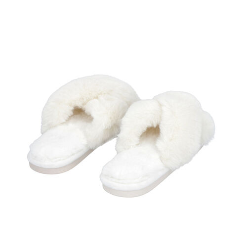 Super Soft Faux Fur Cross Band Slippers (Size M: 5-6) - Ivory