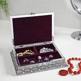 3D Embossed Collection Handcrafted Flower Oxidised Jewellery Box (Size 23x17.7 Cm) with Wine Red Vel