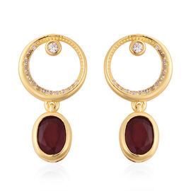 Isabella Liu Sea Rhyme Collection - African Ruby and Natural Cambodian Zircon Earrings (with Push Ba