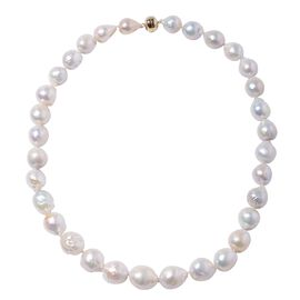One Time Only - 14K Yellow Gold AAA White Edison Baroque Pearl Necklace (Size 20)