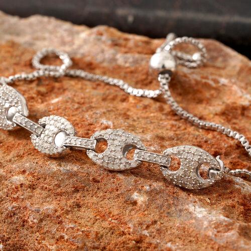 Diamond (Rnd) Mariner Link Bracelet (Size 6.5 to 10 Adjustable) in Platinum Overlay Sterling Silver 1.000 Ct.