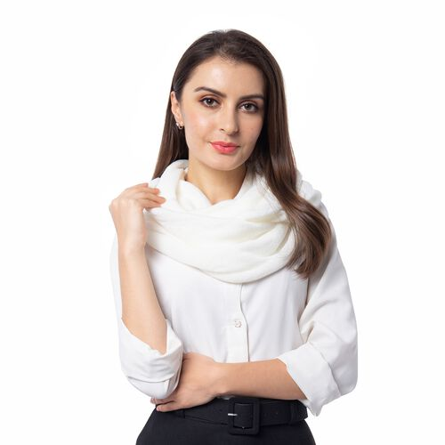 Designer Inspired-White Colour Infinity Scarf (Size 77x70 Cm)