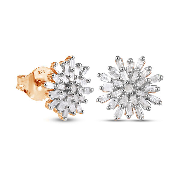 Diamond Snow Flake Earrings (with Push Black) in 14K Gold Overlay Sterling Silver 0.33 Ct.