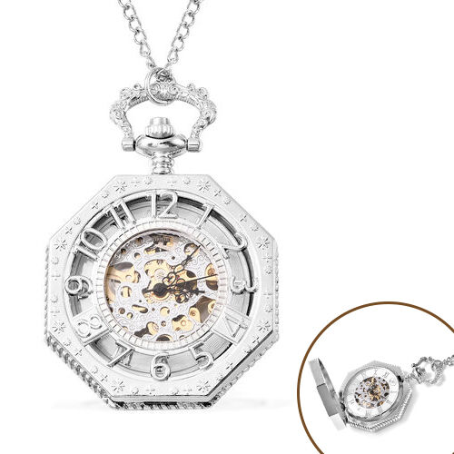 GENOA Automatic Mechanical Octagonal Hollow-Out Number Pattern Skeleton Pocket Watch with Chain in S
