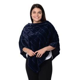Super Soft Faux Fur Poncho (Size 70x75 Cm) - Navy Blue