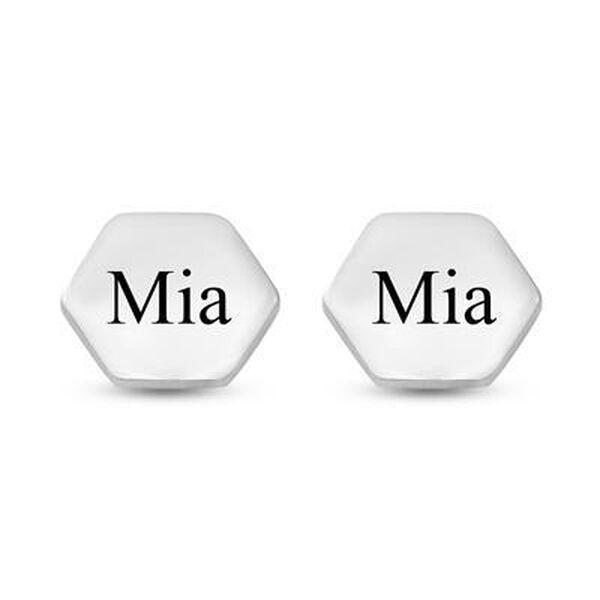 Personalised Engravable Hexagon Stud Earrings in Silver