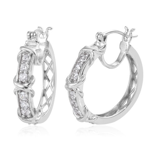 J Francis - Platinum Overlay Sterling Silver (Rnd) Hoop Earrings (with Clasp) Made With SWAROVSKI ZI