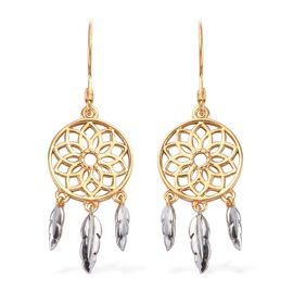 Platinum and Yellow Gold Overlay Sterling Silver Dreamcatcher Earrings